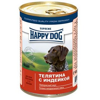 Happy Dog консервы для собак из мяса с овощами (телятина и индейка) (400гр)