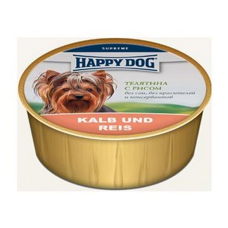 Happy Dog консервы для собак нежный паштет из телятины с рисом ( банка 125гр )